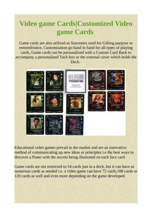 Video game Cards|Customized Video game Cards
