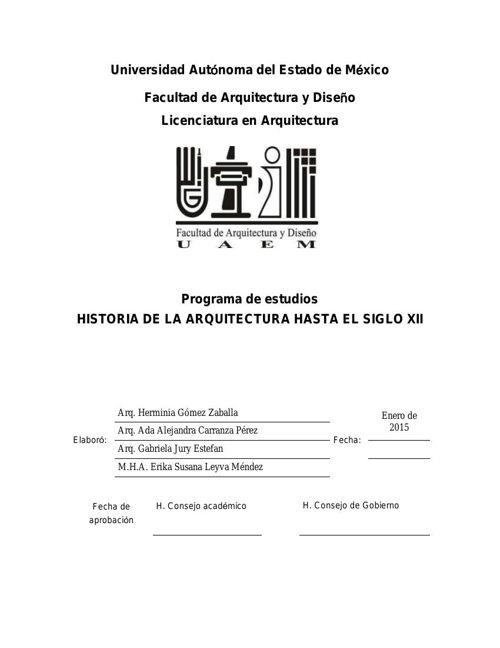 PROGRAMA HIST. DE LA ARQ. H. S.XII