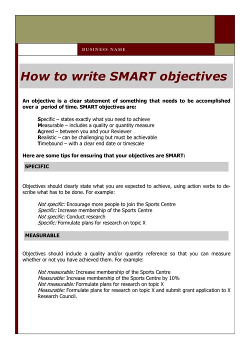 How to write smart objective