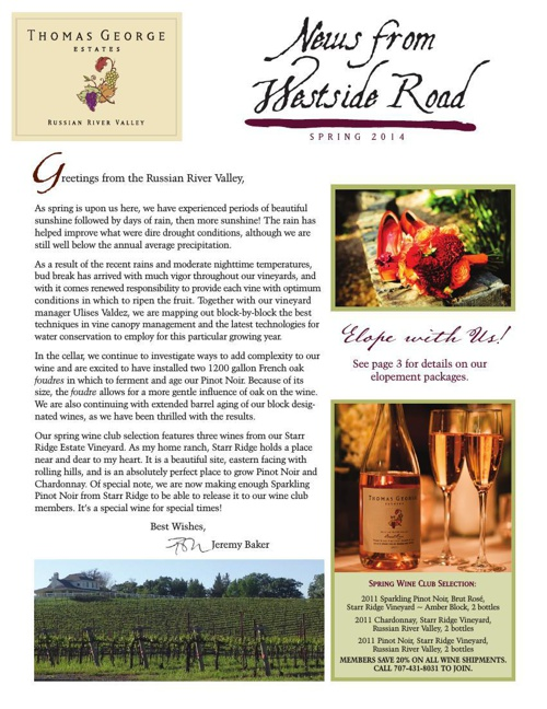 Thomas George Estates Newsletter - Spring 2014