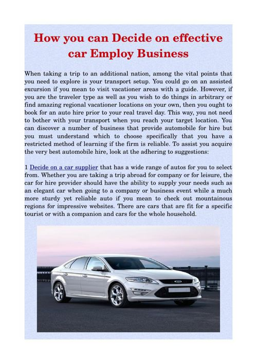 How you can Decide on effective car Employ Business