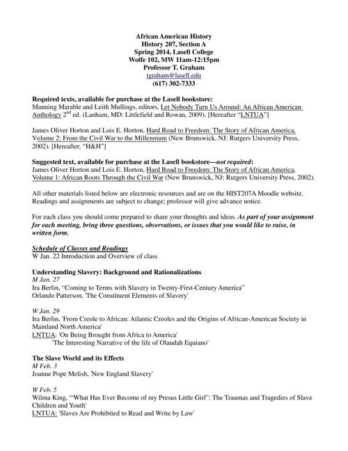 HIST207A, Spring 2014 syllabus