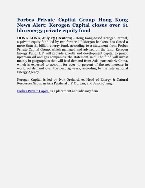 Forbes Private Capital Group Hong Kong News Alert: Kerogen Capit