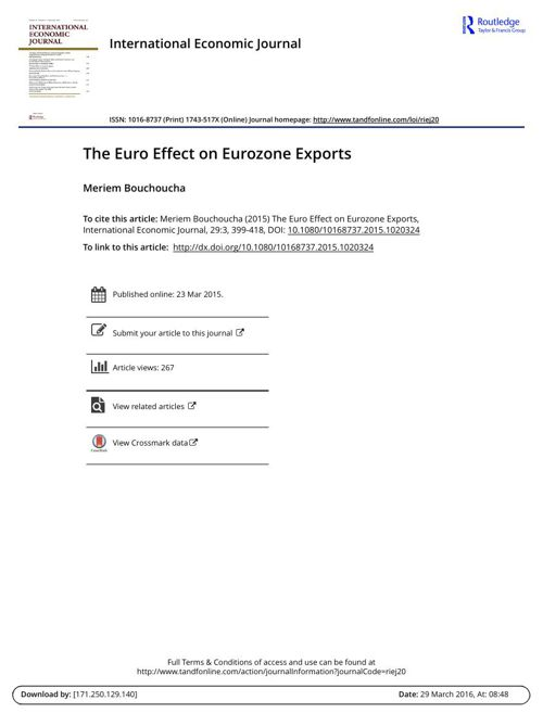 The Euro Effect on Eurozone Exports ( tap chi kinh te quoc te ta