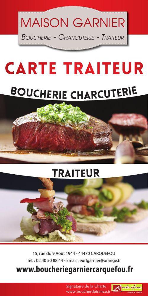 """La """"Carte Traiteur"""" de la Boucherie Garnier à Carquefou"""
