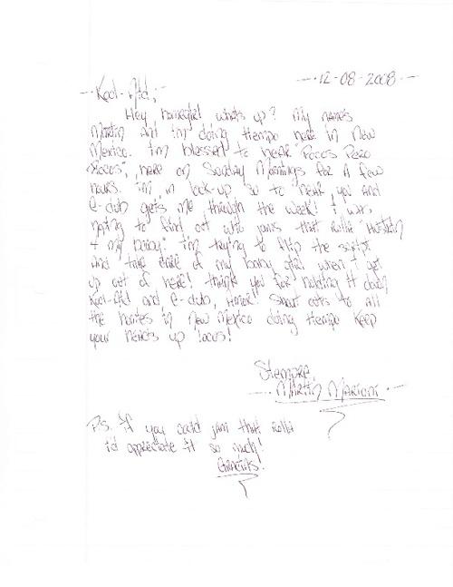 """Pocos Pero Locos """"Dedications From The Pen"""" Letters 2008 Vol. 3"""