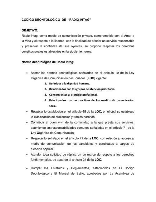 Código Deontológico de Radio Intag