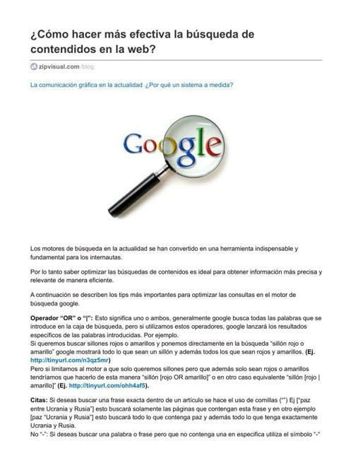 Busqueda efectiva de contenidos en la web