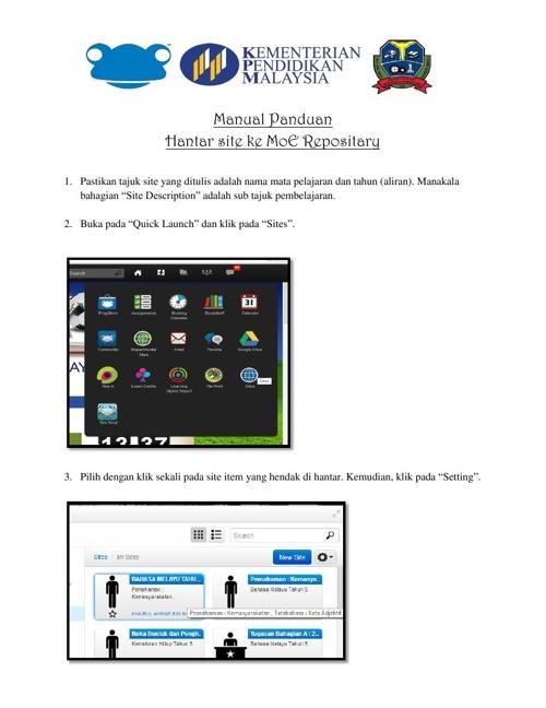 Manual Panduan hantar ke MoE Repositary