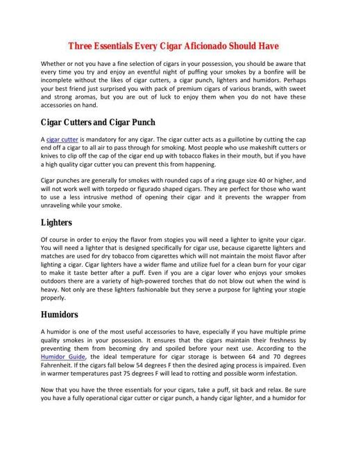 Three Essentials Every Cigar Aficionado Should Have