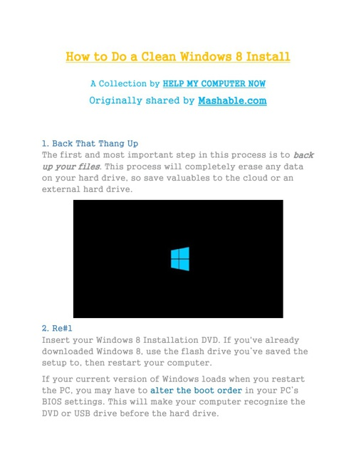How to Do a Clean Windows 8 Install