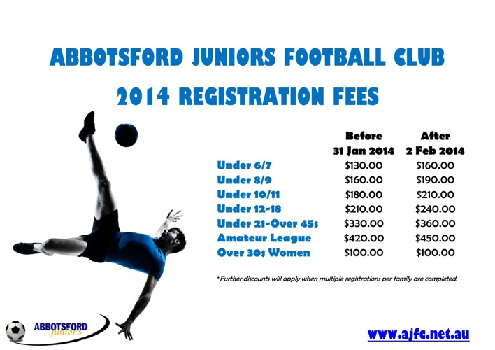 AJFC 2014 Registration Fees