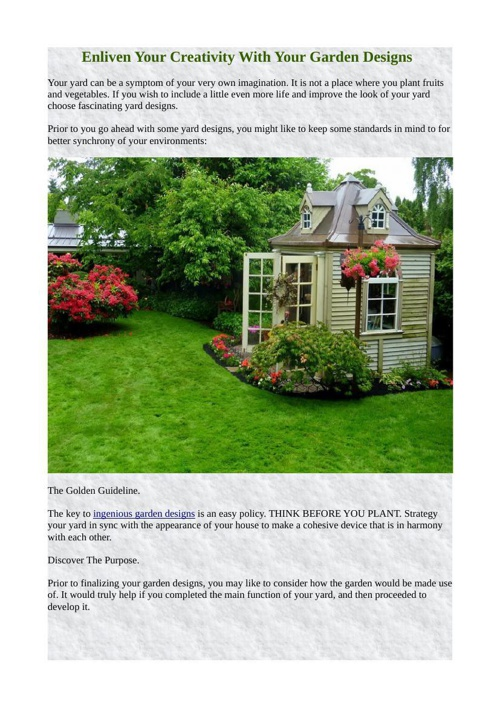 Enliven Your Creativity With Your Garden Designs