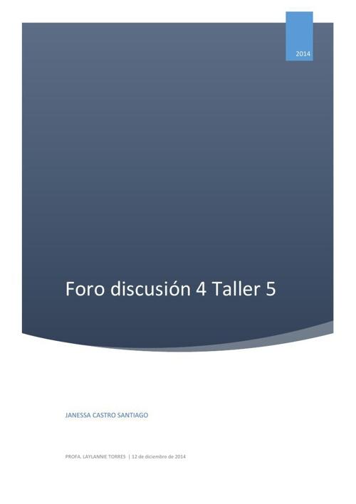Foro de Discusión 4 Taller 5