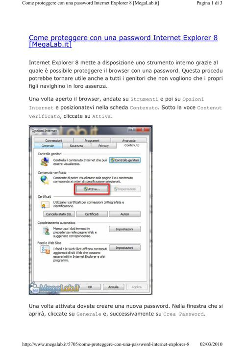 Proteggere con password internet explorer
