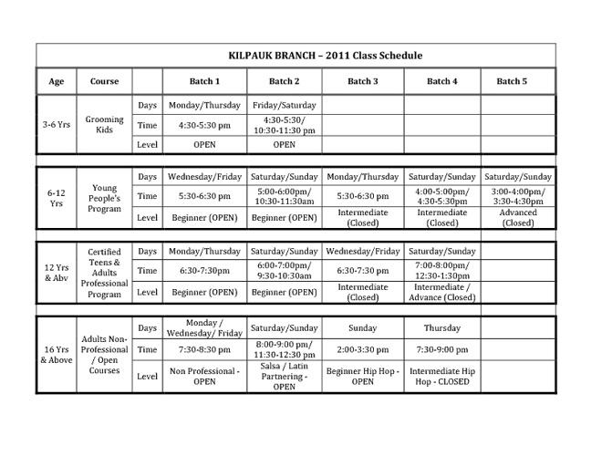 Swingers Dance Class Schedule