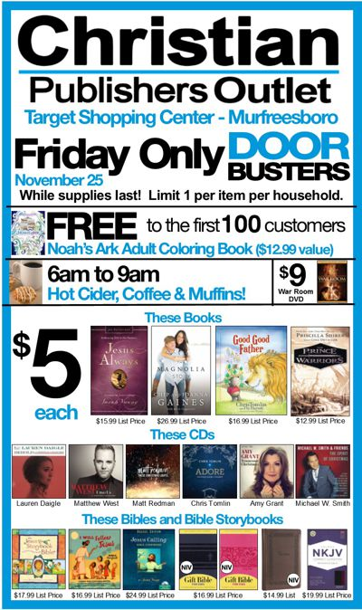 Christian Publishers Outlet 1-Day Doorbusters!