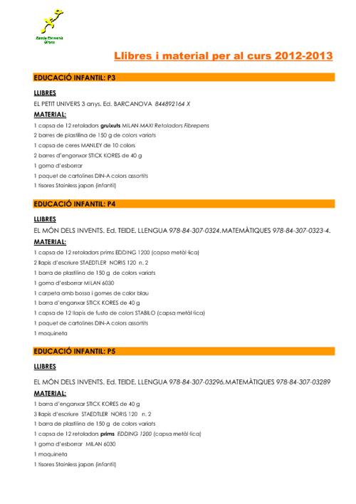 Copy of Llibres i material per al curs 2012-2013