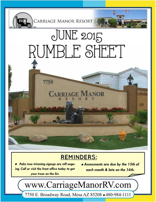 Carriage Manor Resort - June 2015 Rumble Sheet