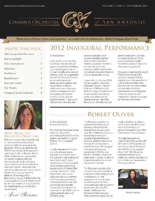 COSA Sept 2012 Newsletter