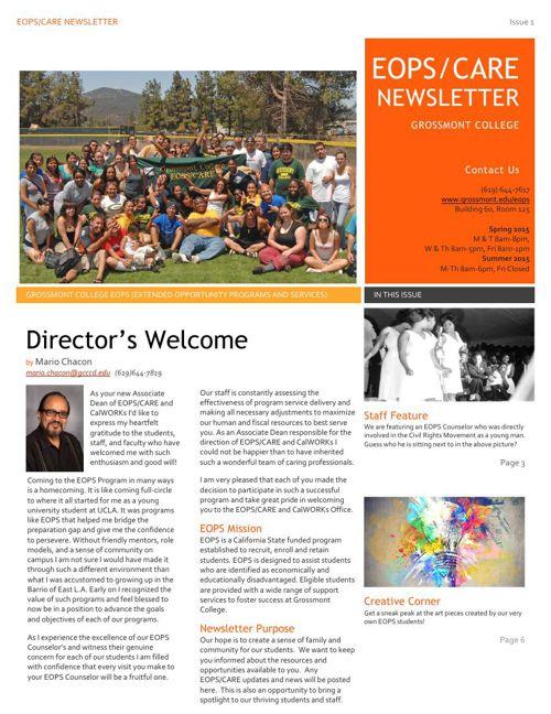 Grossmont College EOPS/CARE Newsletter