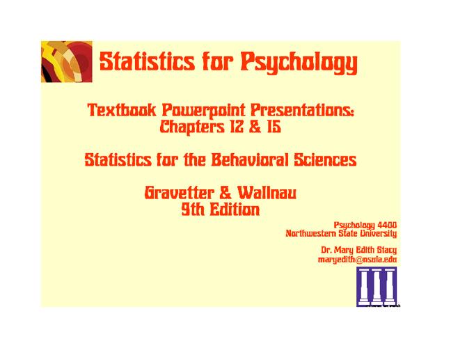 Textbook PPTs Chs 12 & 15 9E
