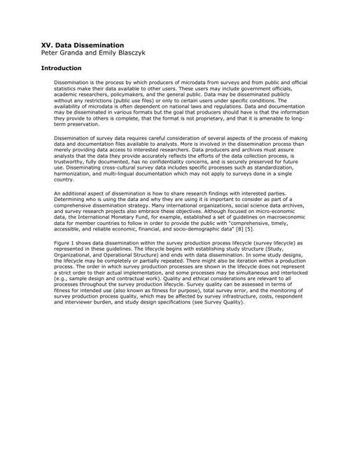 CCSG - 15. Data Dissemination