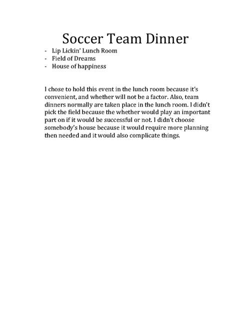 Soccer Team Dinner