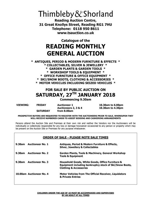General Auction Catalogue
