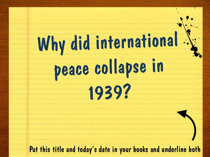 8. Why did war break out in September 1939?