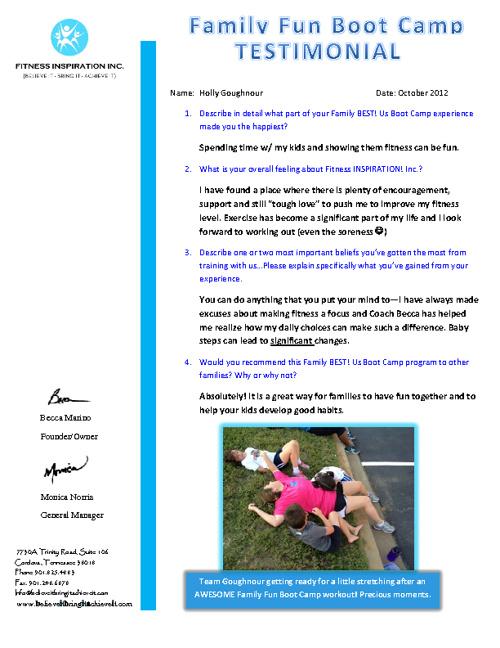 Fitness INSPIRATION! Inc. Client Testimonials!!