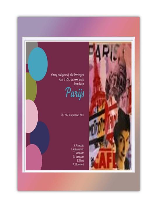 Programmaboekje leeruitsta Parijs 5 BSO