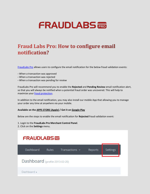 Fraud Labs Pro: How to configure email notification?