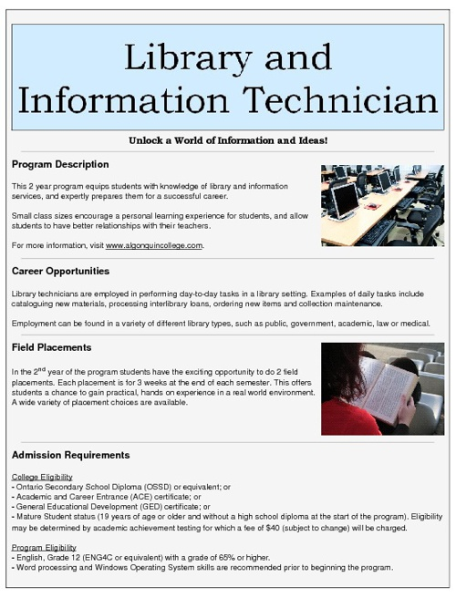 Library and Information Technician: Information Sheet