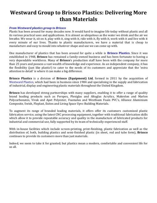 Westward Group to Brissco Plastics - Delivering More than Materi