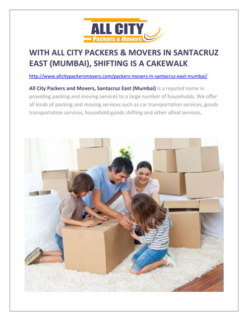 All City Packers and Movers, Packers and Movers in Santacuz