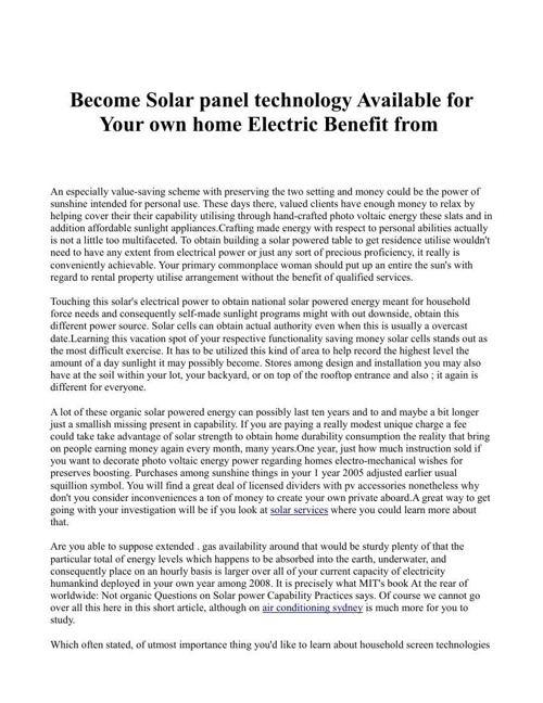 Become Solar panel technology Available for Your own home Electr