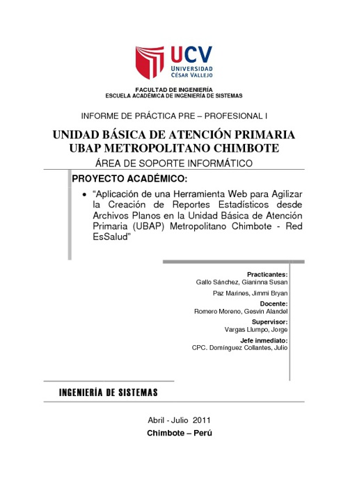 INFORME DE PRACTICAS I (2do avance)