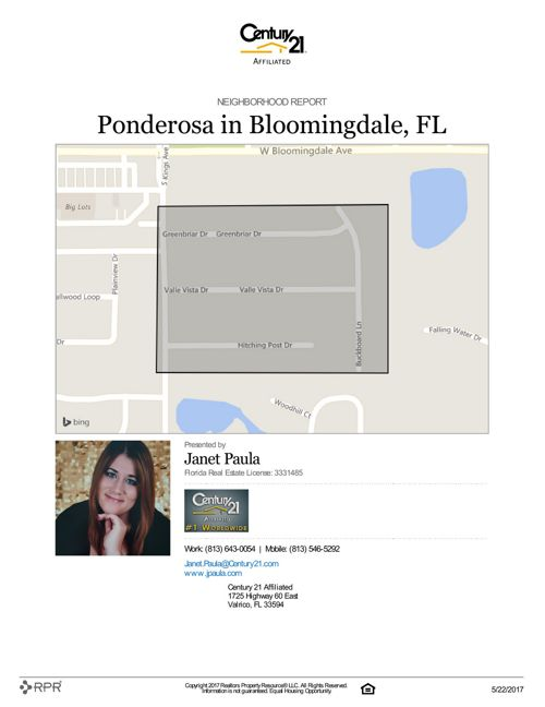 Neighborhood Report for Ponderosa