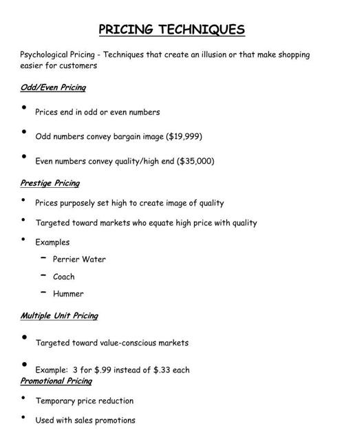 unit 9 ( pricing )