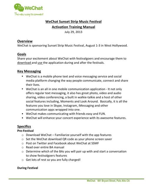 Sunset WeChat Brand Ambassador Manual