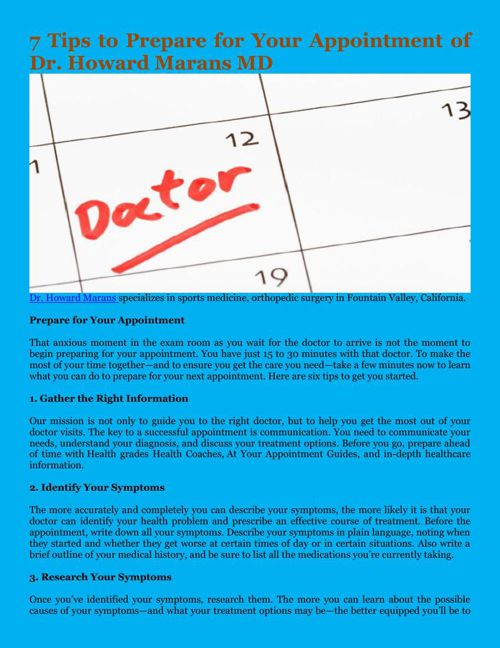7 Tips to Prepare for Your Appointment of Dr. Howard Marans MD