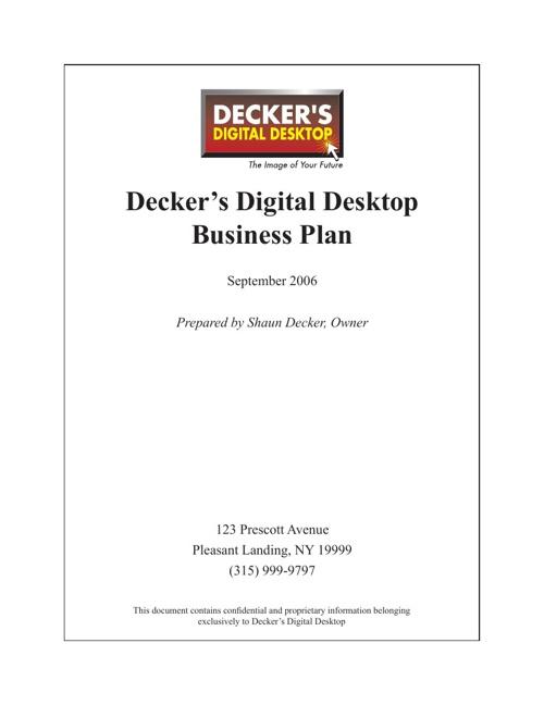 Decker Business Plan