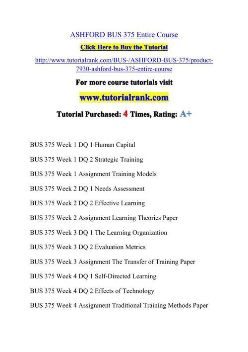 BUS 375 Potential Instructors / tutorialrank.com