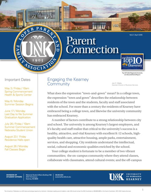 UNK Parent and Family Newsletter APRIL 2013