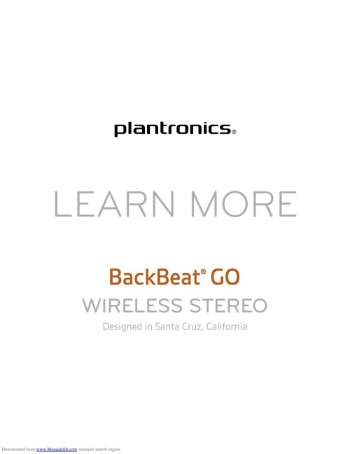 Plantronics BackBeat GO User Guide