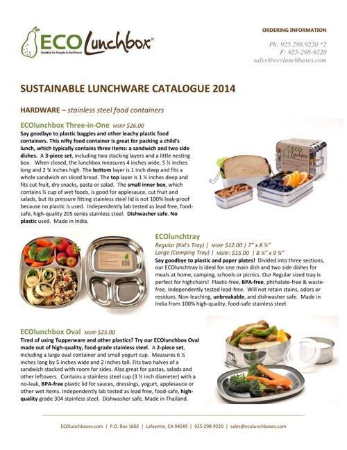 ECOlunchbox Product Catalog