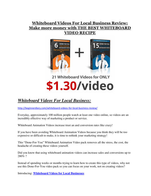 Whiteboard Videos For Local Business review demo and $14800 bonu