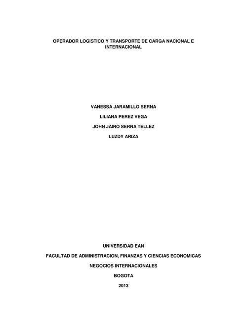 OPERADOR LOGISTICO Y TRANSPORTE DE CARGA NACIONAL E INTERNACIONA