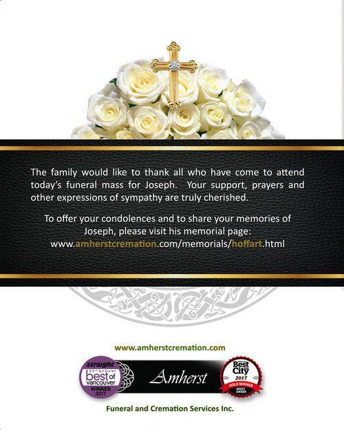 Memorial Card for Joseph Hoffart